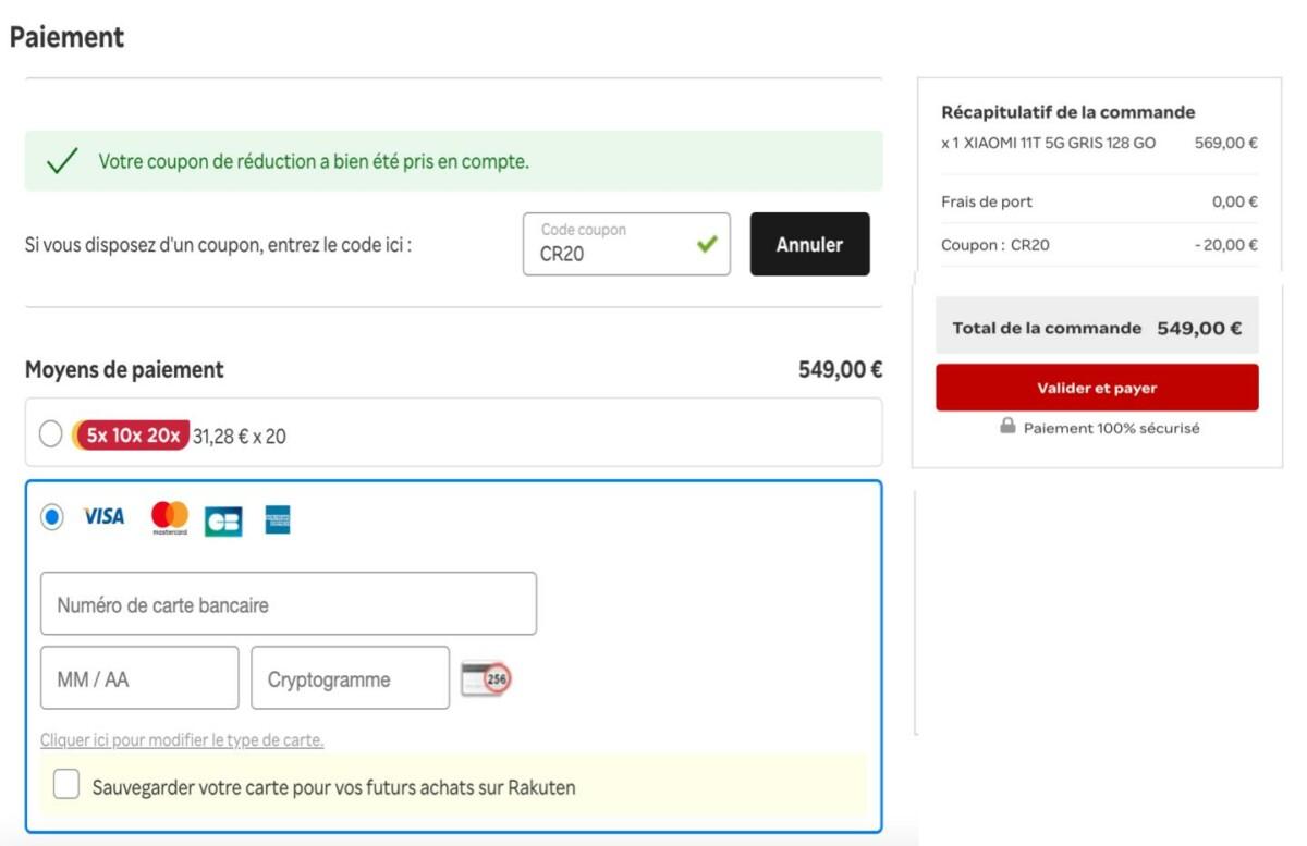 Capture d'écran qui montre comment utiliser le code promo avant de procéder au paiement