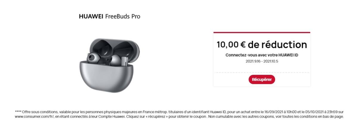Le coupon de réduction de 10 € est à activer en scrollant vers le bas de la page produit des FreeBuds Pro