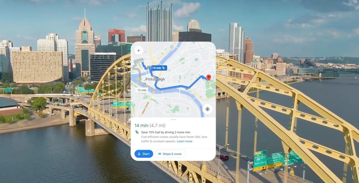 Trajet écoresponsable sur Google Maps