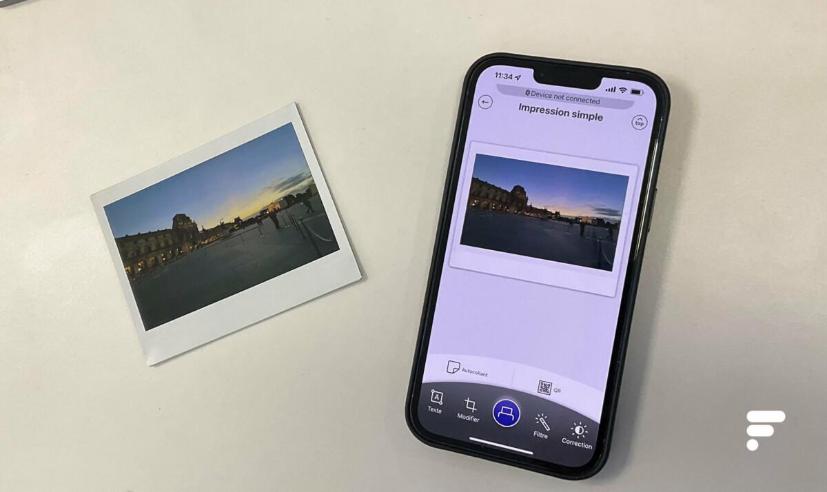 Vous pouvez modifier les photos sur l'application avant d'imprimer