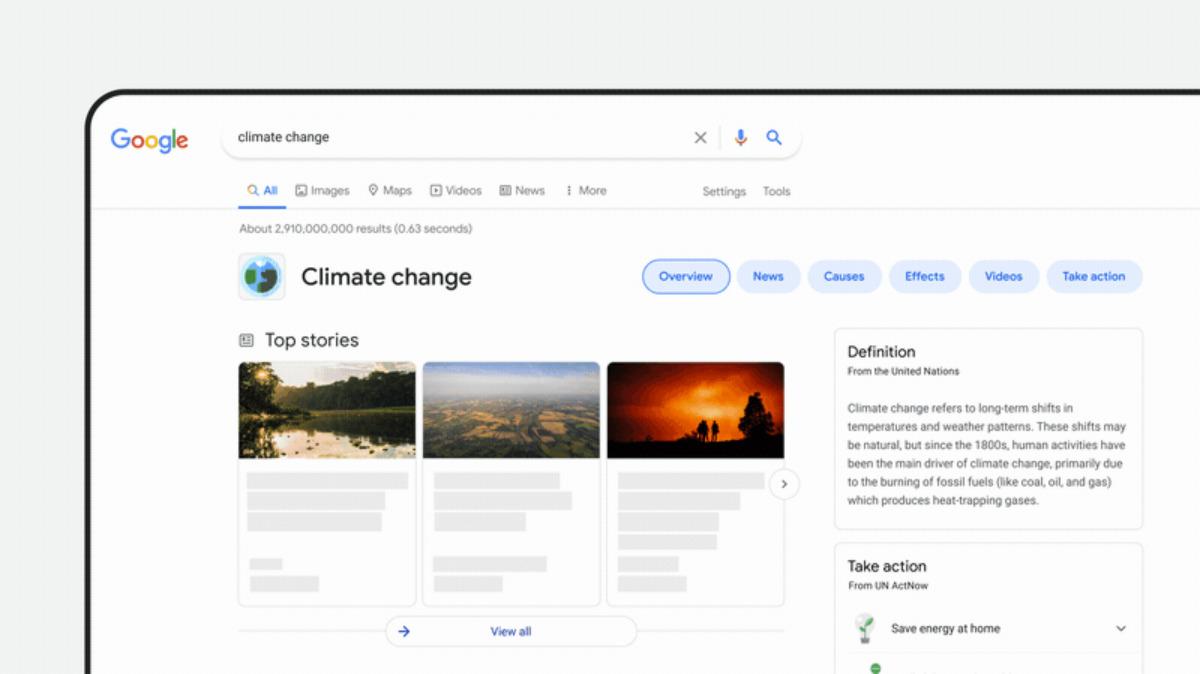 Google change la mise en page des résultats sur le changement climatique