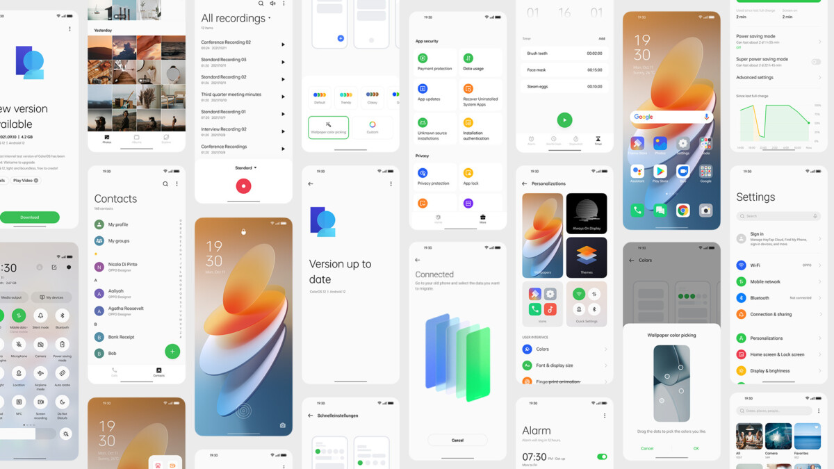 L'interface ColorOS 12 d'Oppo