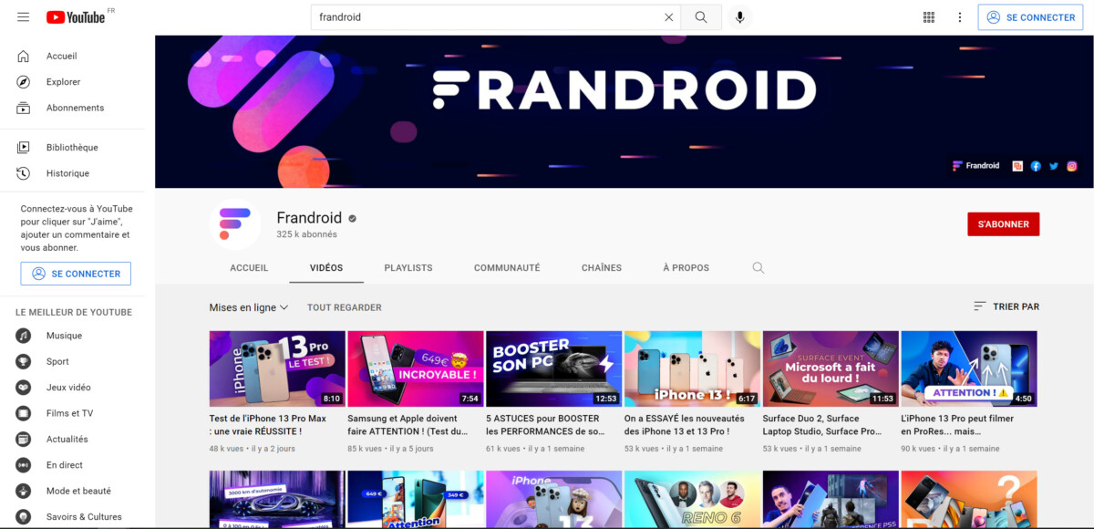 Page Frandroid de YouTube