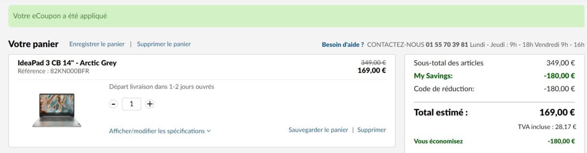 Le eCoupon d'une réduction de 180 euros s'applique automatiquement quand l'IdeaPad 3 CB 14″ est placé dans le panier