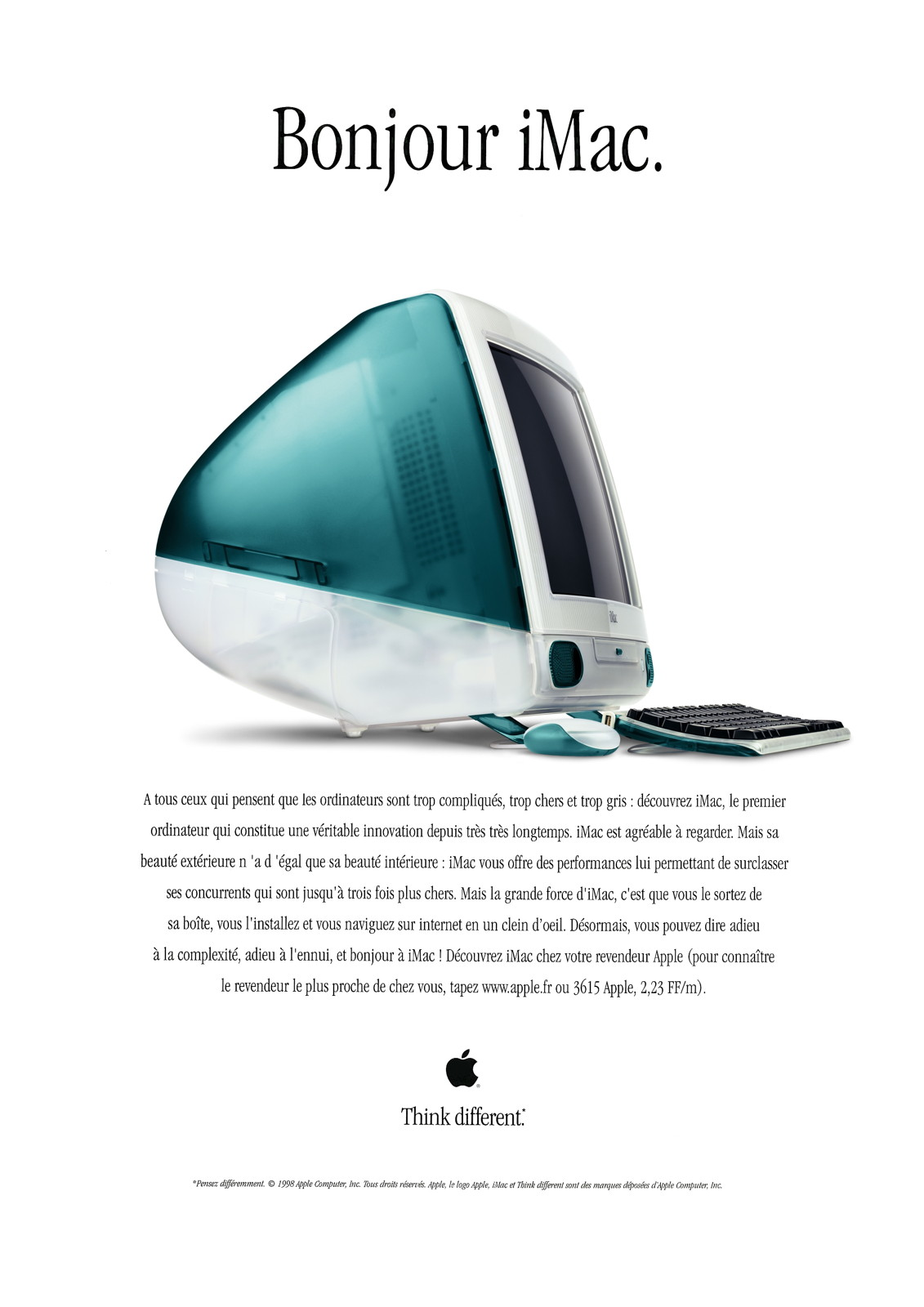 Publicité pour l'iMac G3 en 1998