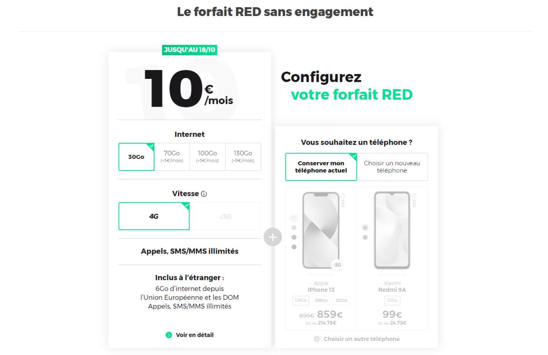 RED propose un meilleur forfait à 10 € que B&You grâce à 20 Go de plus